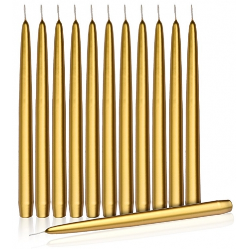 "Higlow Dripless Taper Candles 10"" Inch Candle Set of 12 (Gold)"